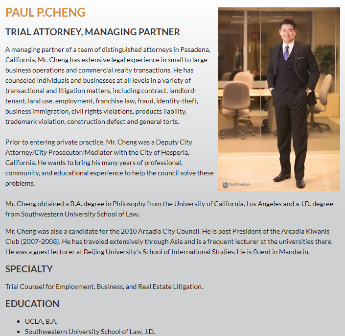 Attorney Paul P. Cheng