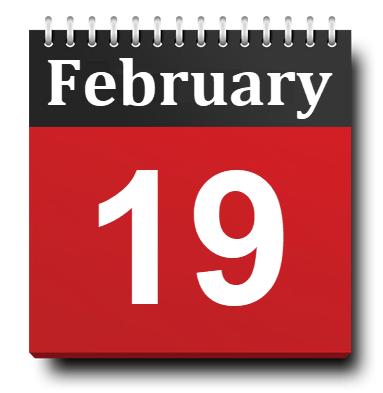 February 19 Calendar Icon