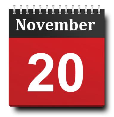 November 20 Calendar Icon