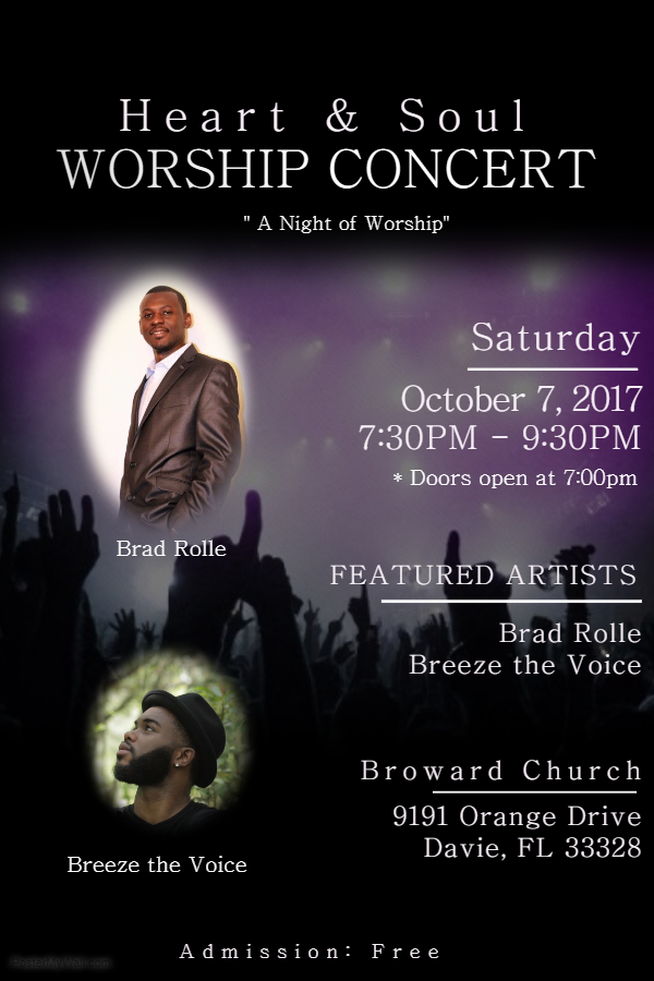 heart and soul worship concert tickets sat oct 7 2017 at 7 00 pm eventbrite. Black Bedroom Furniture Sets. Home Design Ideas
