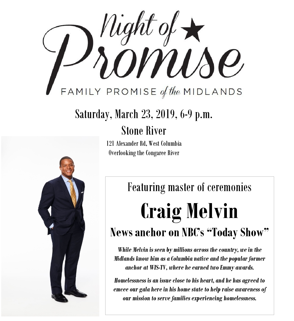 Craig Melvin as master of ceremonies for our 2019 Gala event
