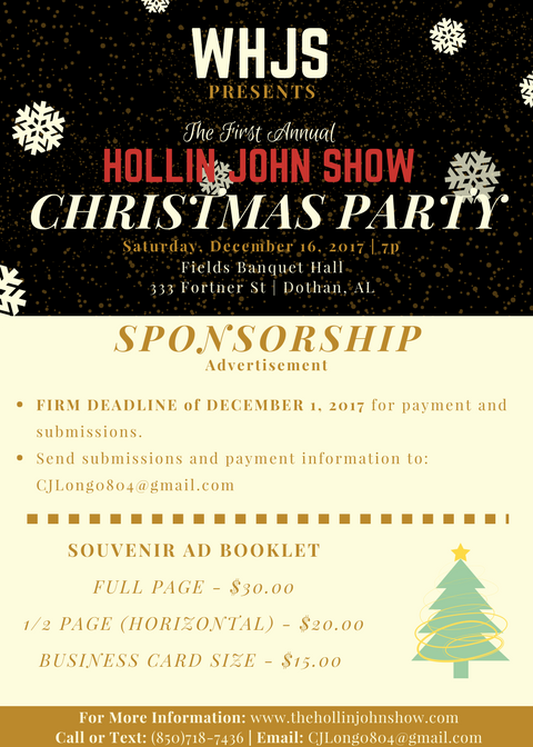 WHJS Presents The First Annual Hollin John Show Christmas Party_Ad