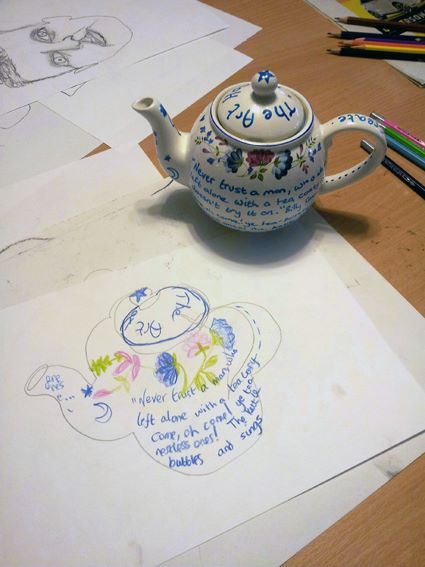 Drawing and teapot