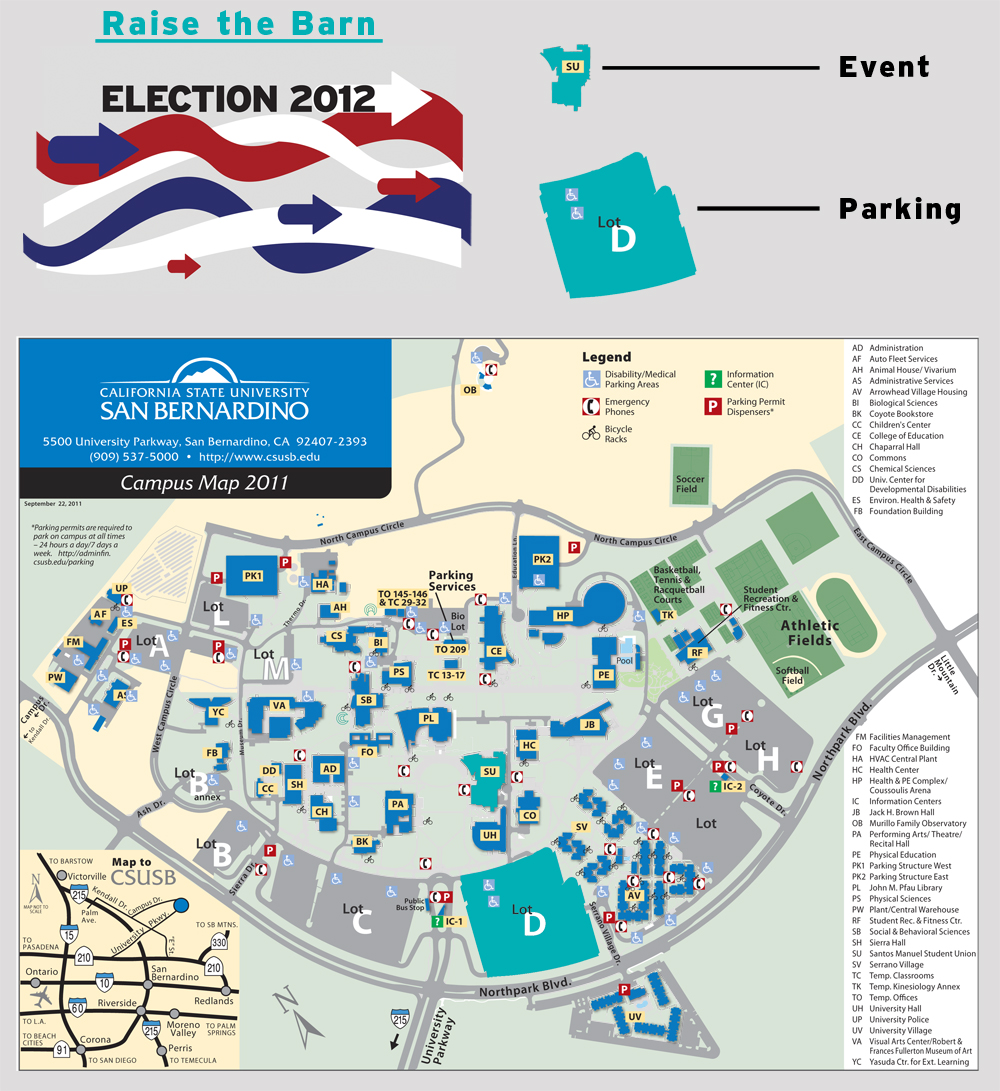 Map of CSU San Bernardino with Event Key
