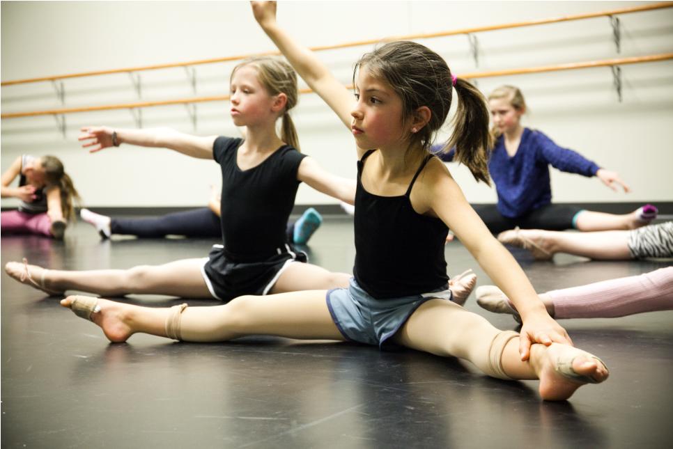Girls Stretching in Dance Class