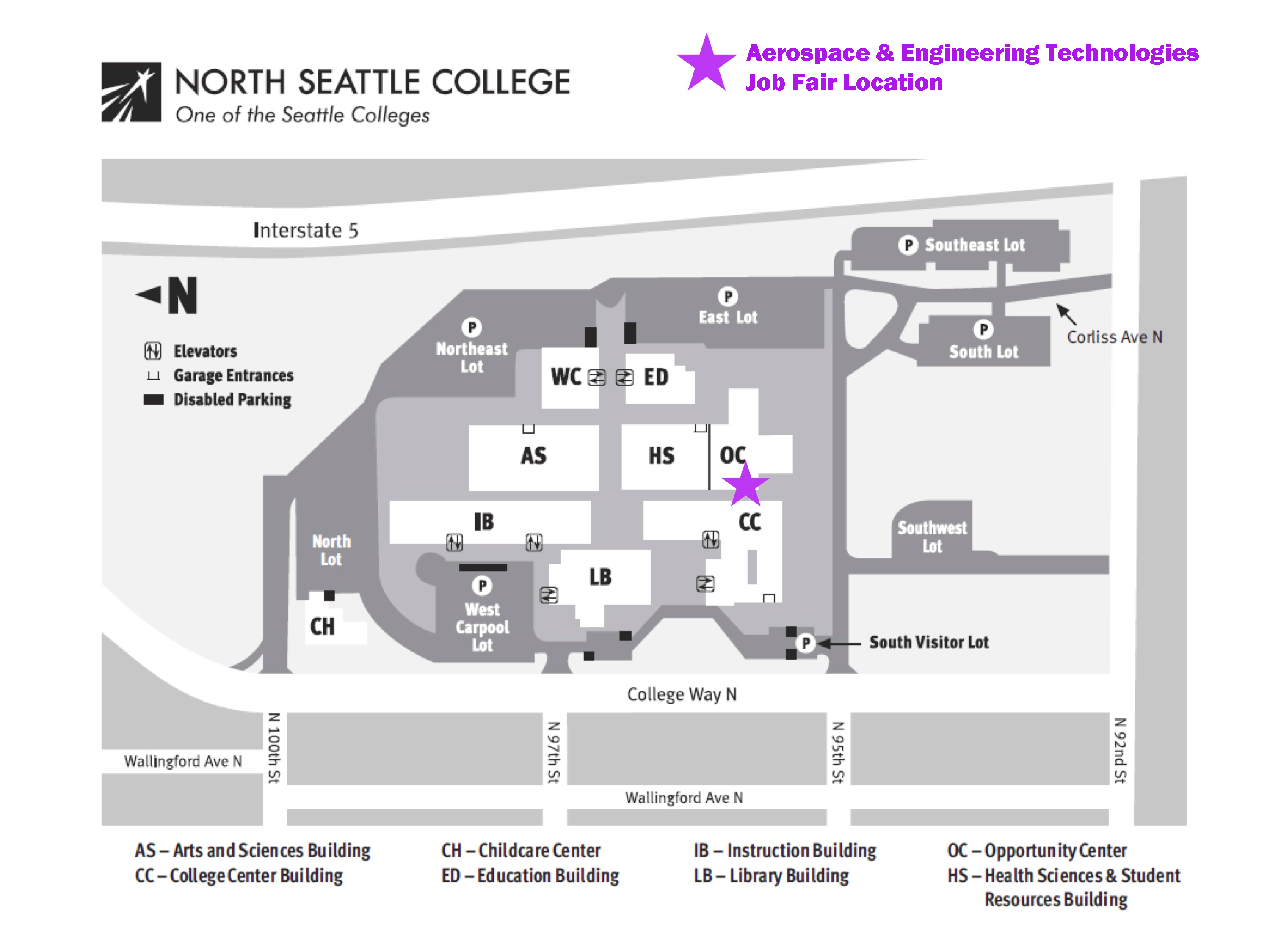 Campus Map of North Seattle College with Job Fair location marked with a star