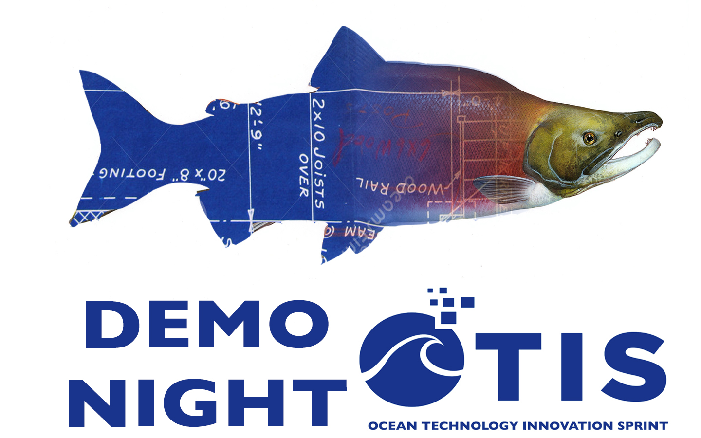 OTIS Demo Night Event Header: Image of a Salmon. The tail is a blueprint, as if it was being drawn. OTIS logo and Demo Night
