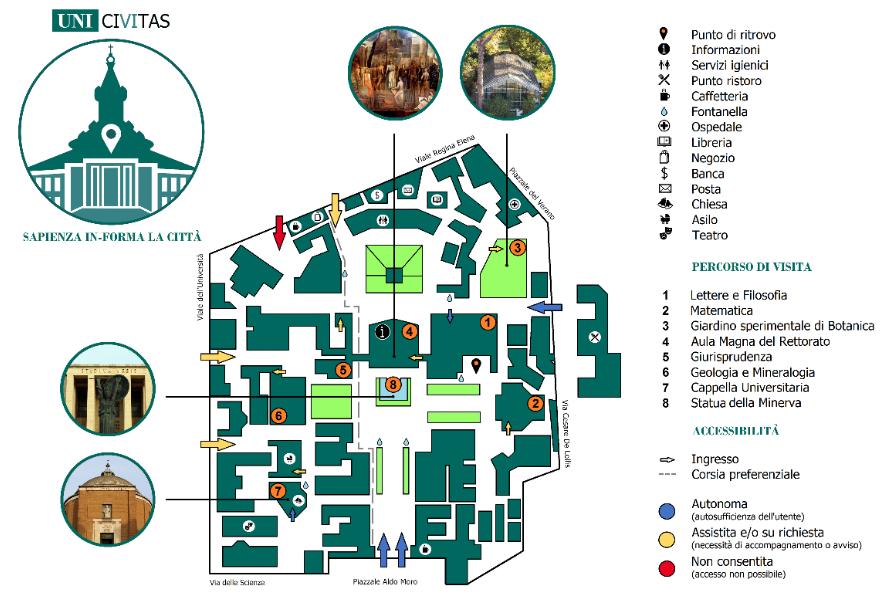 Mappa degli ingressi e dei servizi