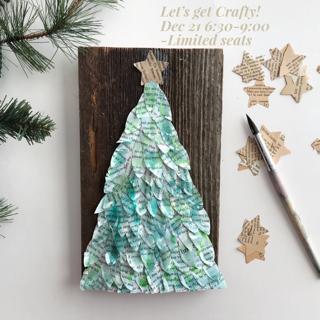 6x9 mixed media festive tree