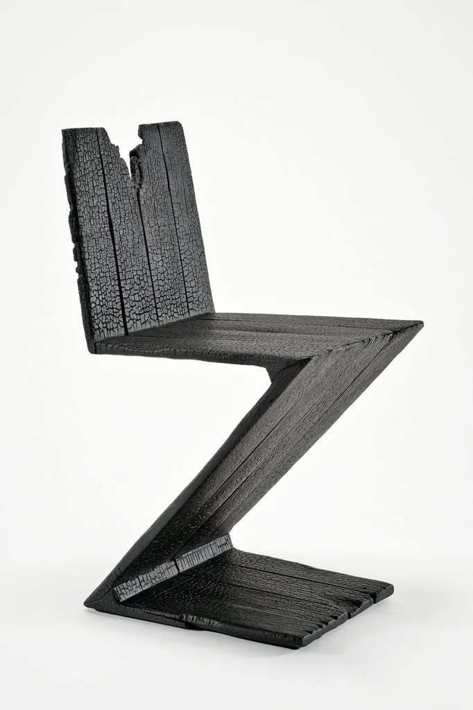 Burned zigzag chairs