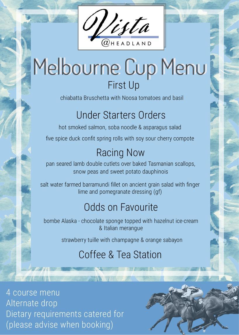 Melbourne Cup 2017 Menu