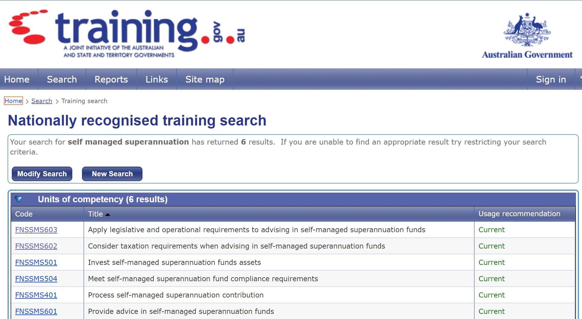 training standards