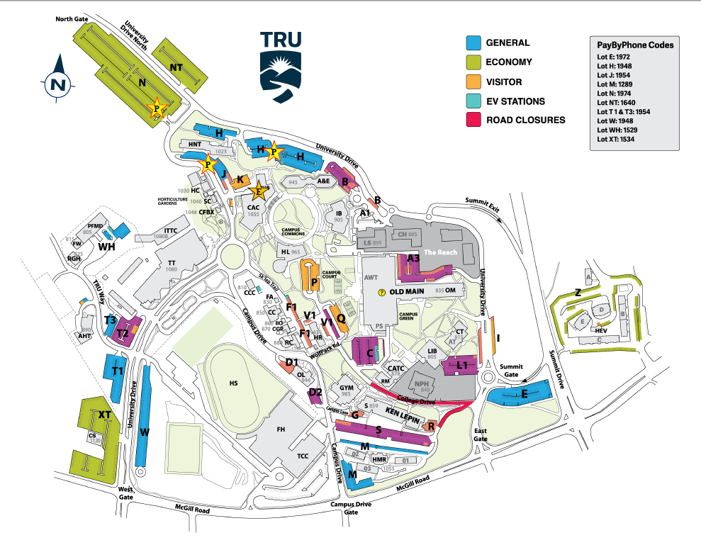 Map of Thompson Rivers University campus