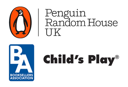 Sponsor logos: Penguin Random House, The Booksellers Association, Child's Play