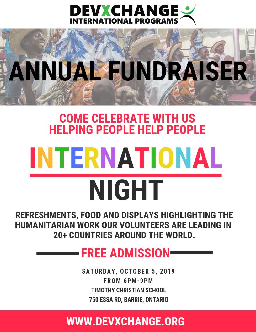 International Night Devxchange Fundraiser Poster