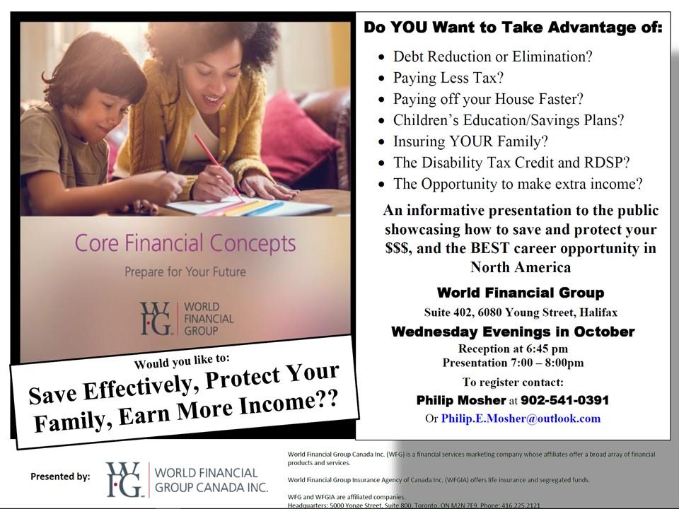 WFG Core Finacial Cocepts Seminar - Halifax Wed PM