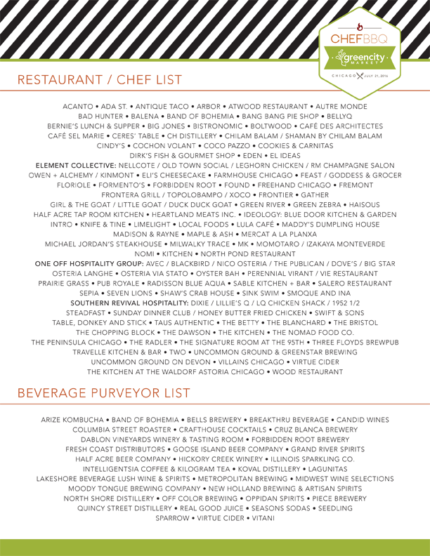 list of participating chefs/restaurants