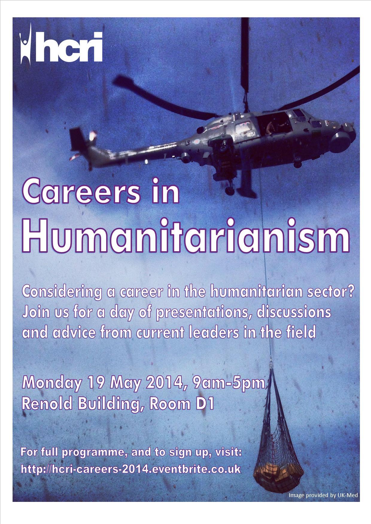 Careers in Humanitarianism Poster, 19 May 2014