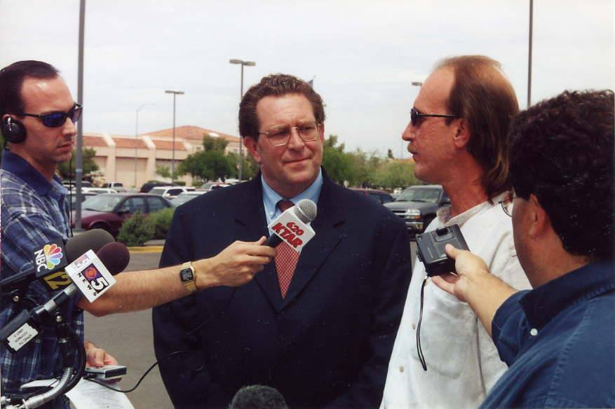 Ray Krone speaks to press with his attorney, Chris Plourd.
