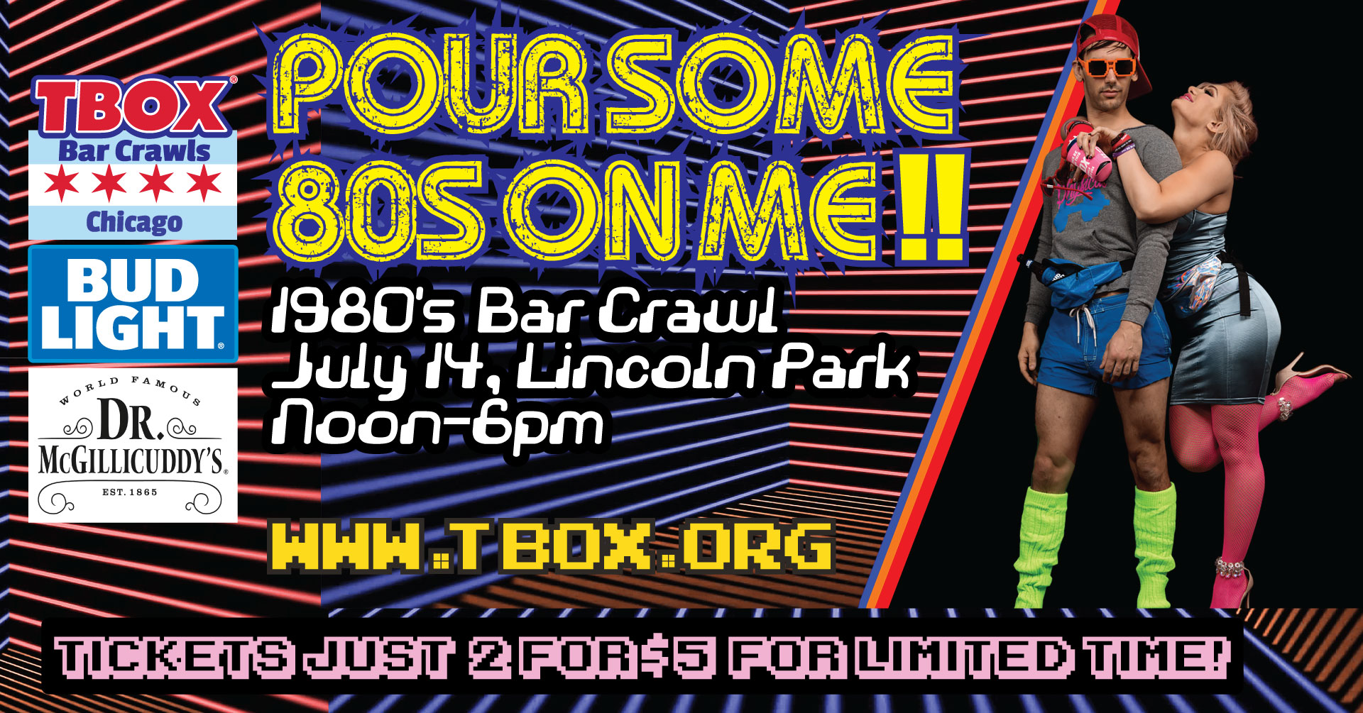 Pour Some 80s on Me - 1980s Bar Crawl - Chicago Bar Crawl - Chicago Pub Crawl
