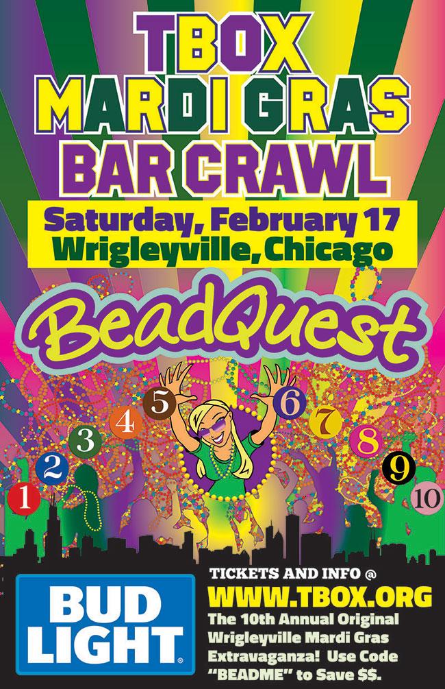 TBOX Mardi Gras Bar Crawl - BeadQuest - #BeadQuest2018 - Chicago Pub Crawl