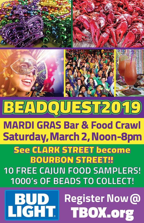 BeadQuest 2019 Food and Bar Crawl Mardi Gras Pub Crawl