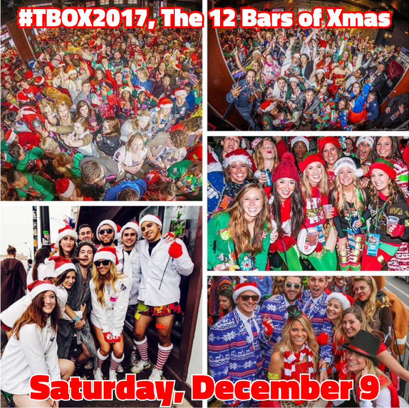 TBOX - 12 Bars of Xmas - Chicago Pub Crawl - Chicago Bar Crawl - 12 Bars of Xmas - Twelve Bars of Xmas - Festa Parties - Christopher Festa founded TBOX in 1996. 22nd Annual Christmas Pub Crawl