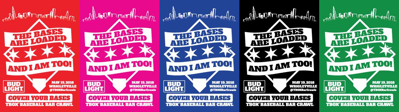 TBOX Baseball Bar Crawl - Cover Your Bases Pub Crawl - #CYB2018 - Cover Your Bases - CYB - Chicago Wrigleyville Pub Crawl T-Shirt
