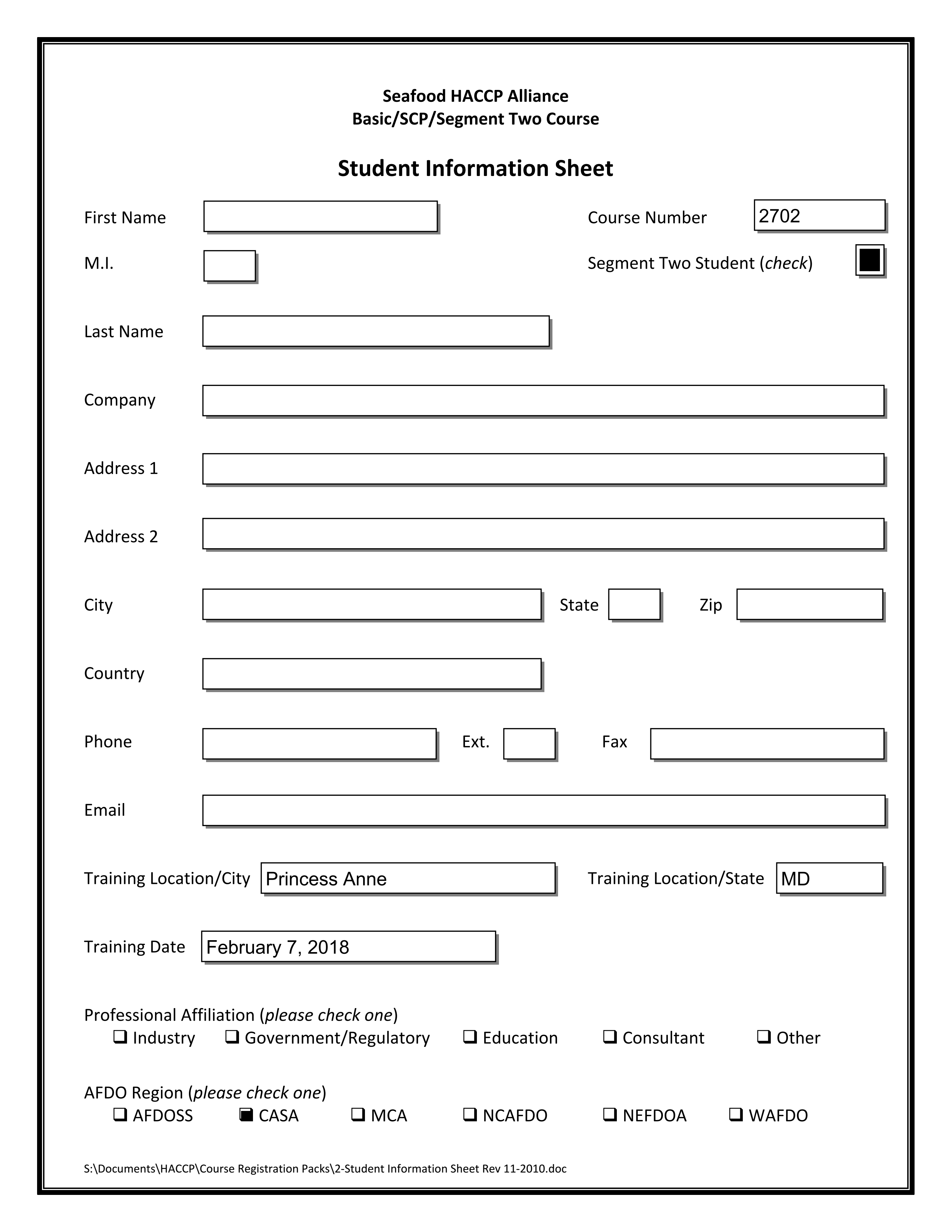 Seafood HACCP Segment 2 Course Student Information Sheet