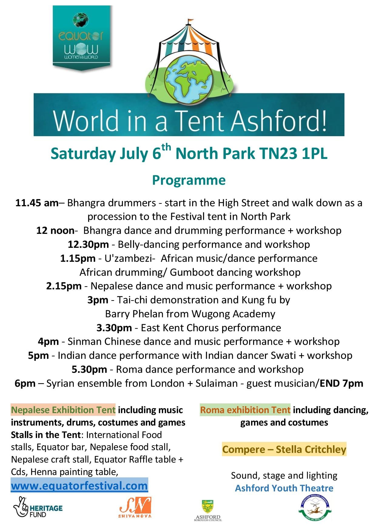Programme -World in a Tent July 6th Ashford