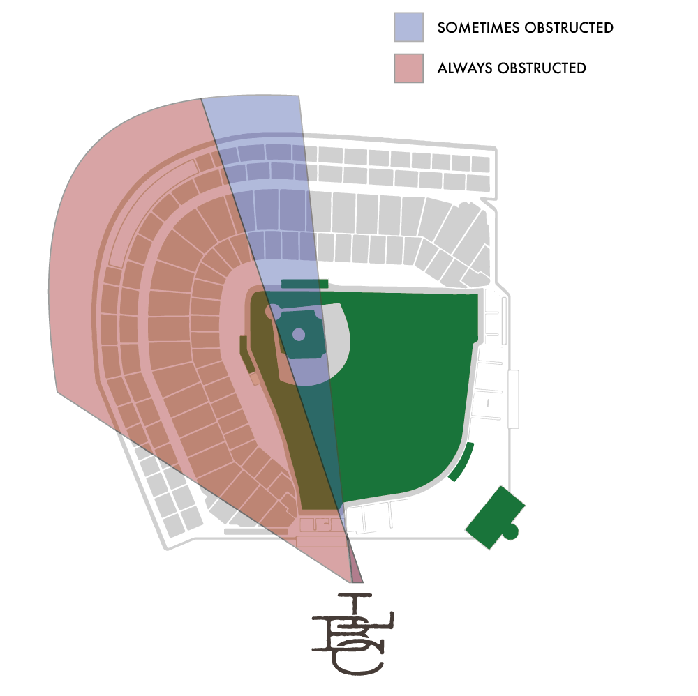 Diagram of Wrigley Field obstruction from Lakeview Baseball Club
