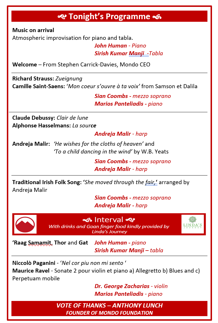 programme for the event