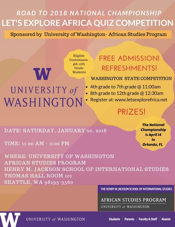 Let S Explore Africa Quiz Competition Washington State