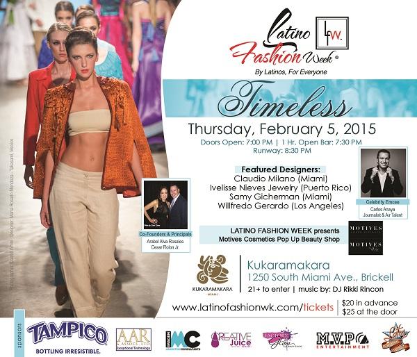 Latino Fashion Week Timeless Miami Tickets Thu Feb 5