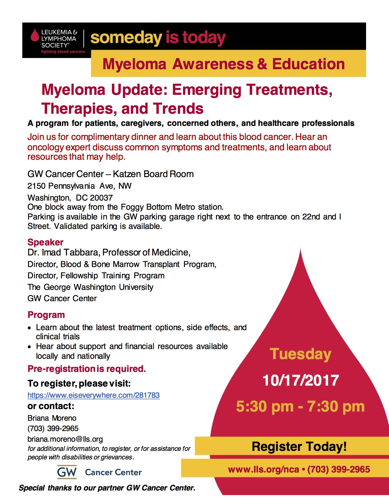 LLS/GW Myeloma Education Program Flyer