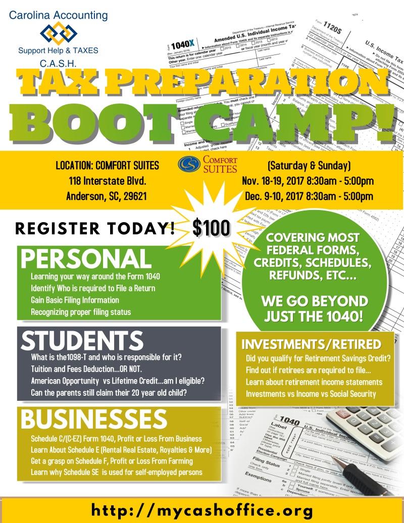 Carolina Accounting Tax Prep Boot Camp