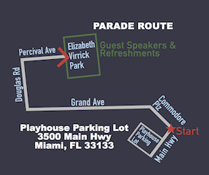 Parade Route: 3500 Main Hwy to Commodore Plz to Grand Ave to Douglas to Percival Ave into Virrick Park