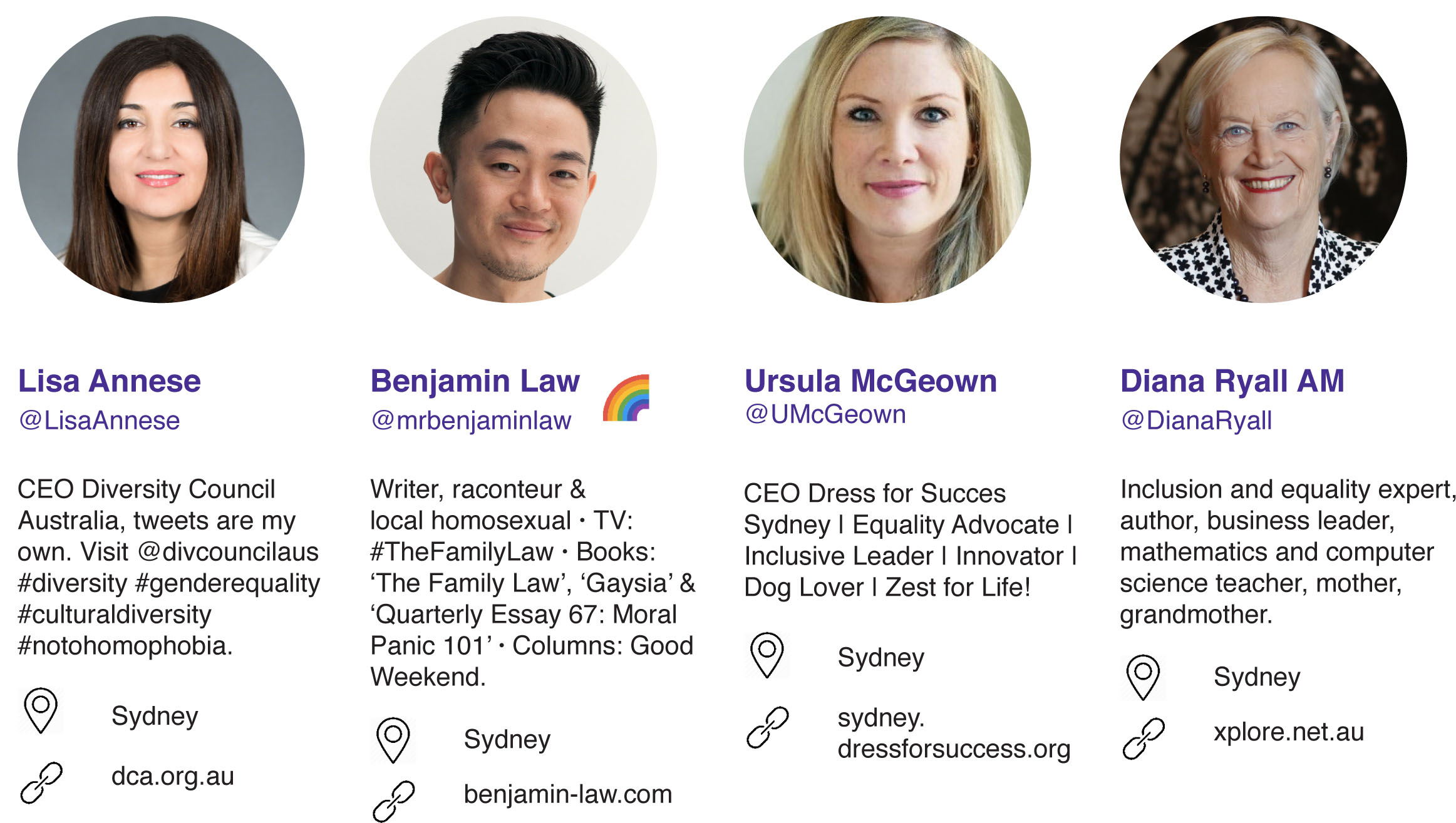 Lisa Annese, Benjamin Law, Ursula McGeown, and Diana Ryall AM.