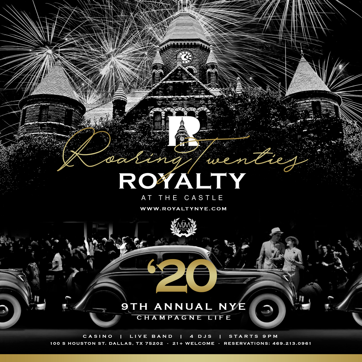 Roaring 20's NYE Casino & Fireworks Watch @ Old Red Museum