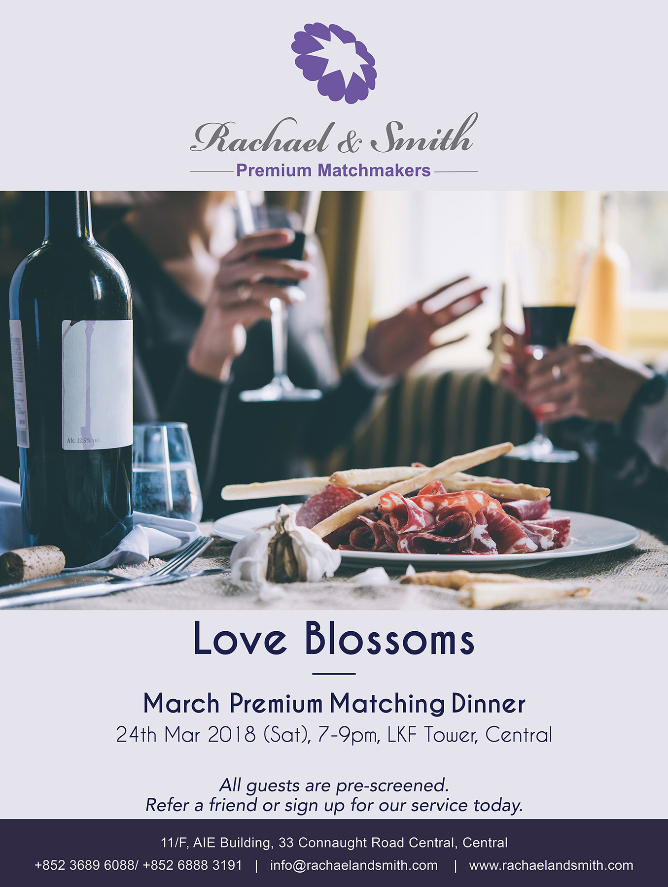 Rachael & Smith, Premium Matchmakers, Premium Dinner