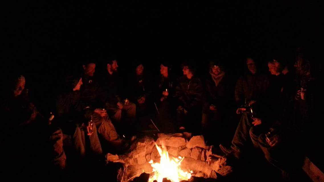 Students around a fire