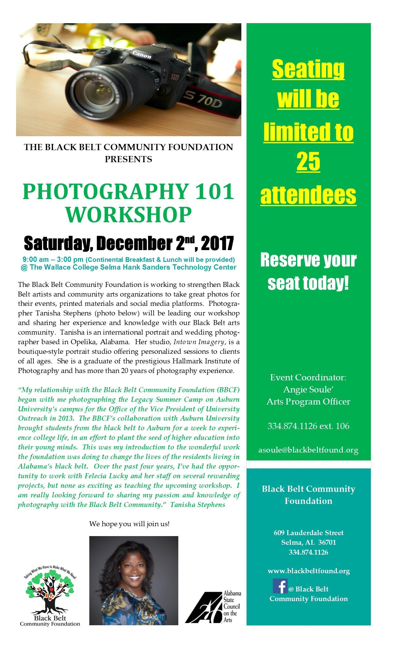 BBCF Photography 101 Workshop Flyer