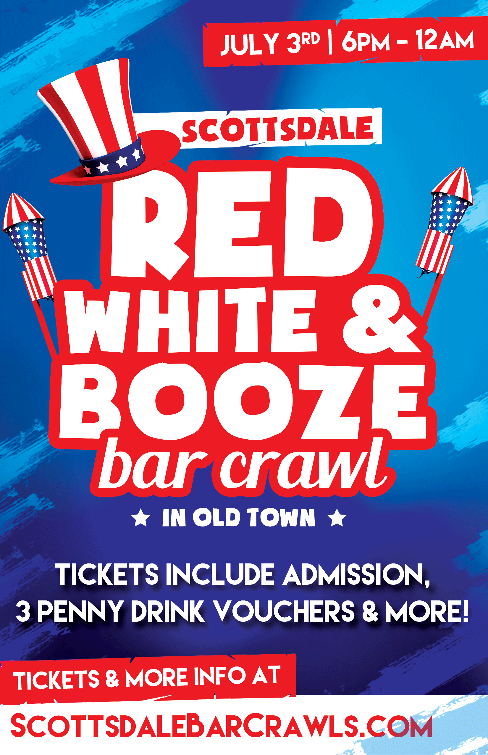 Red, White and Booze Bar Crawl Party - Tickets Include Admission To All Bars, 3 Penny Drink Vouchers & more!