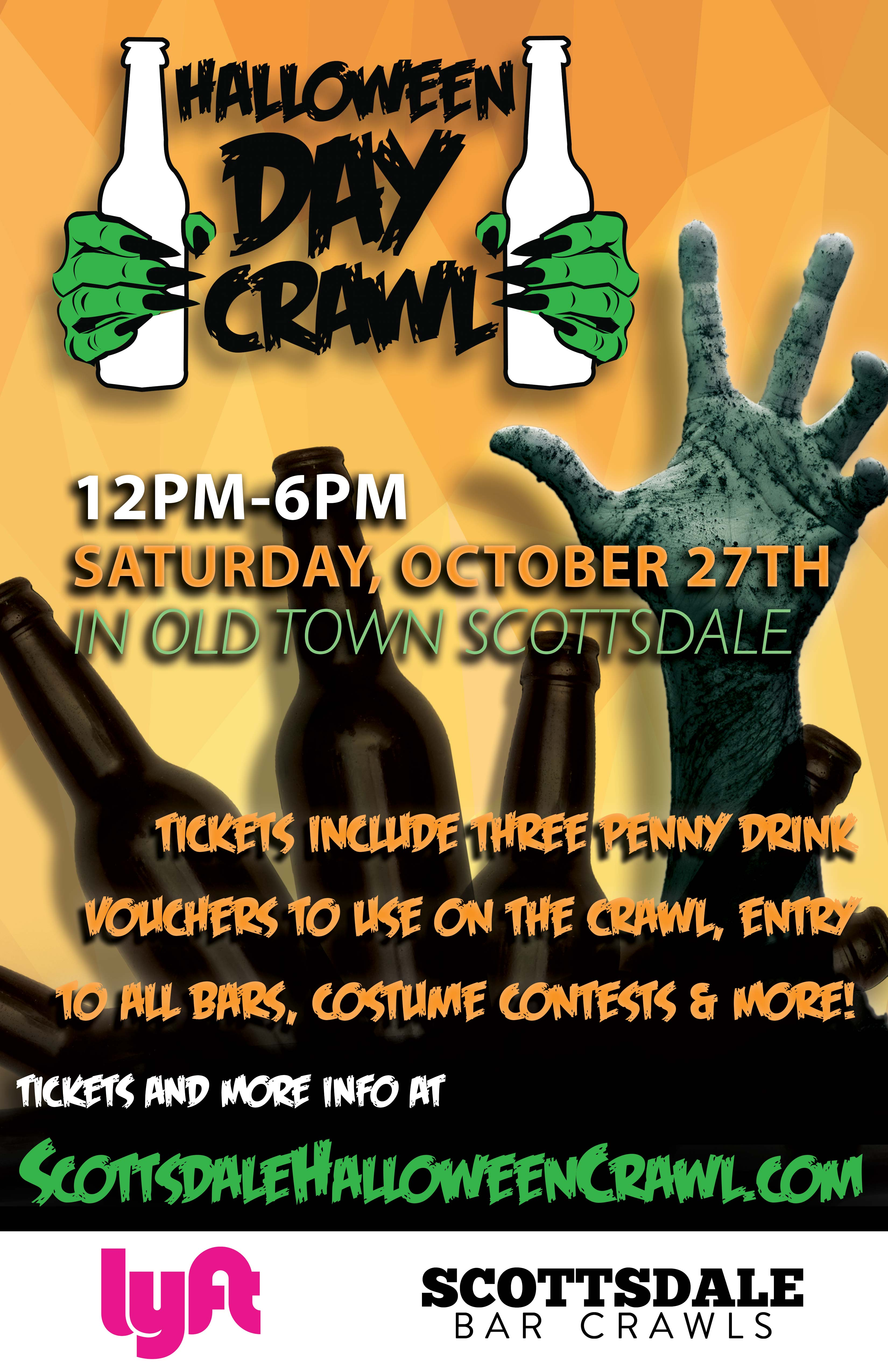Scottsdale Halloween Day Bar Crawl Party - Tickets include 3 Penny Drink Vouchers to Use on the Crawl, Entry to All the Bars, Costume Contests & More!