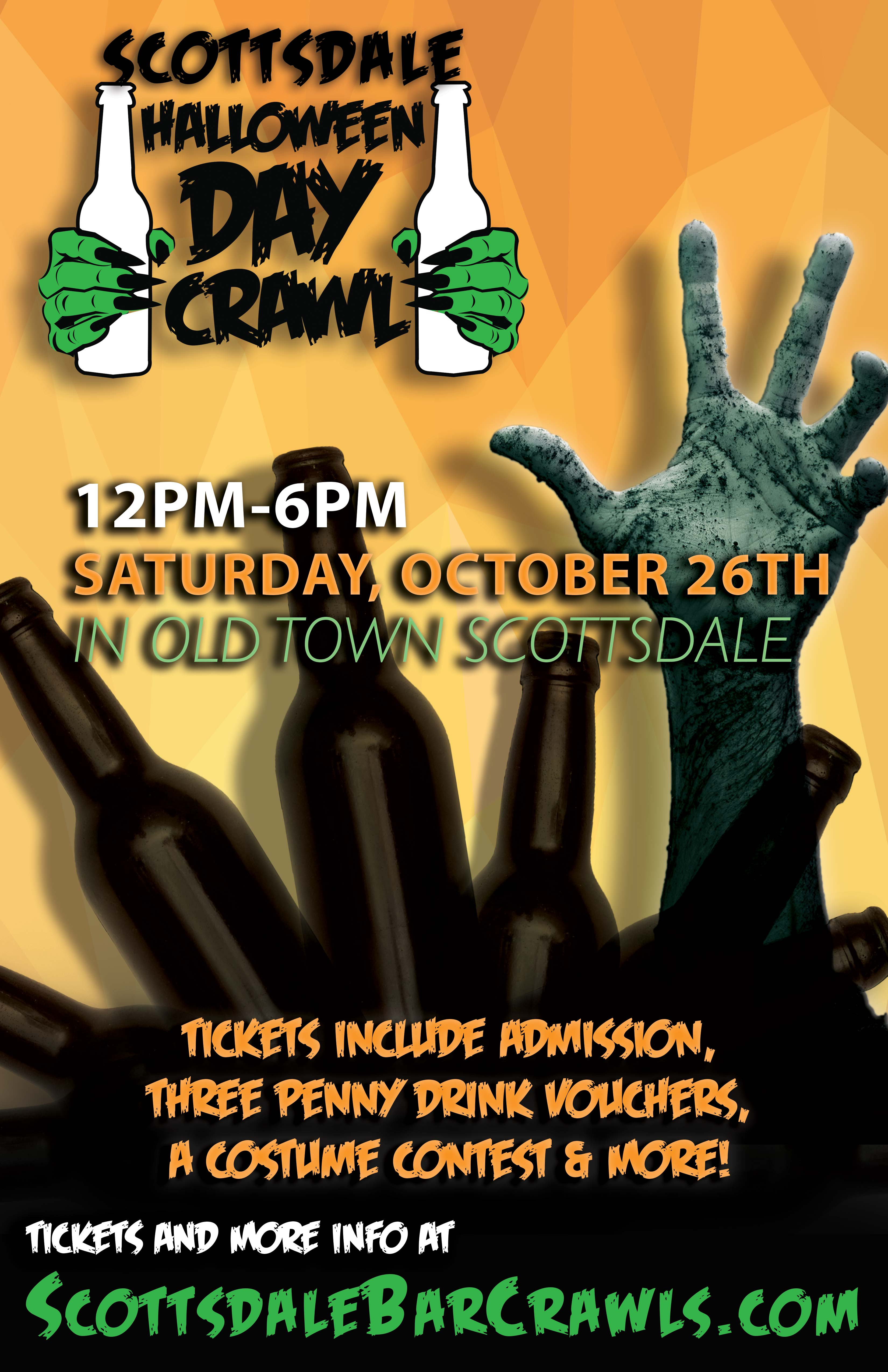 Scottsdale Halloween DAY Crawl - Bar Crawl Party - Tickets include Admission to All Bars, Three 1-penny ($.01) Drink Vouchers to Use on the Crawl, Costume Contests & More!