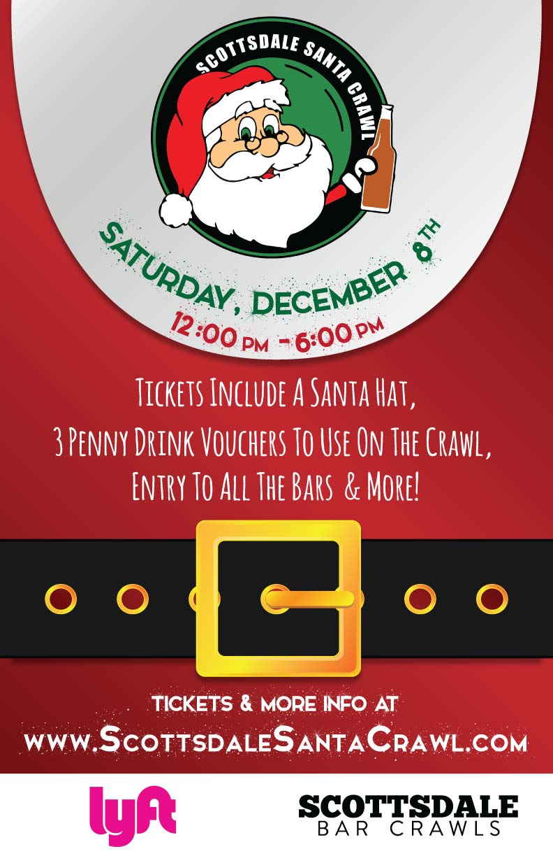 Scottsdale Santa Bar Crawl in Old Town - Tickets include a Santa hat, 3 Penny Drink Vouchers to Use on the Crawl, Entry to All the Bars & More!