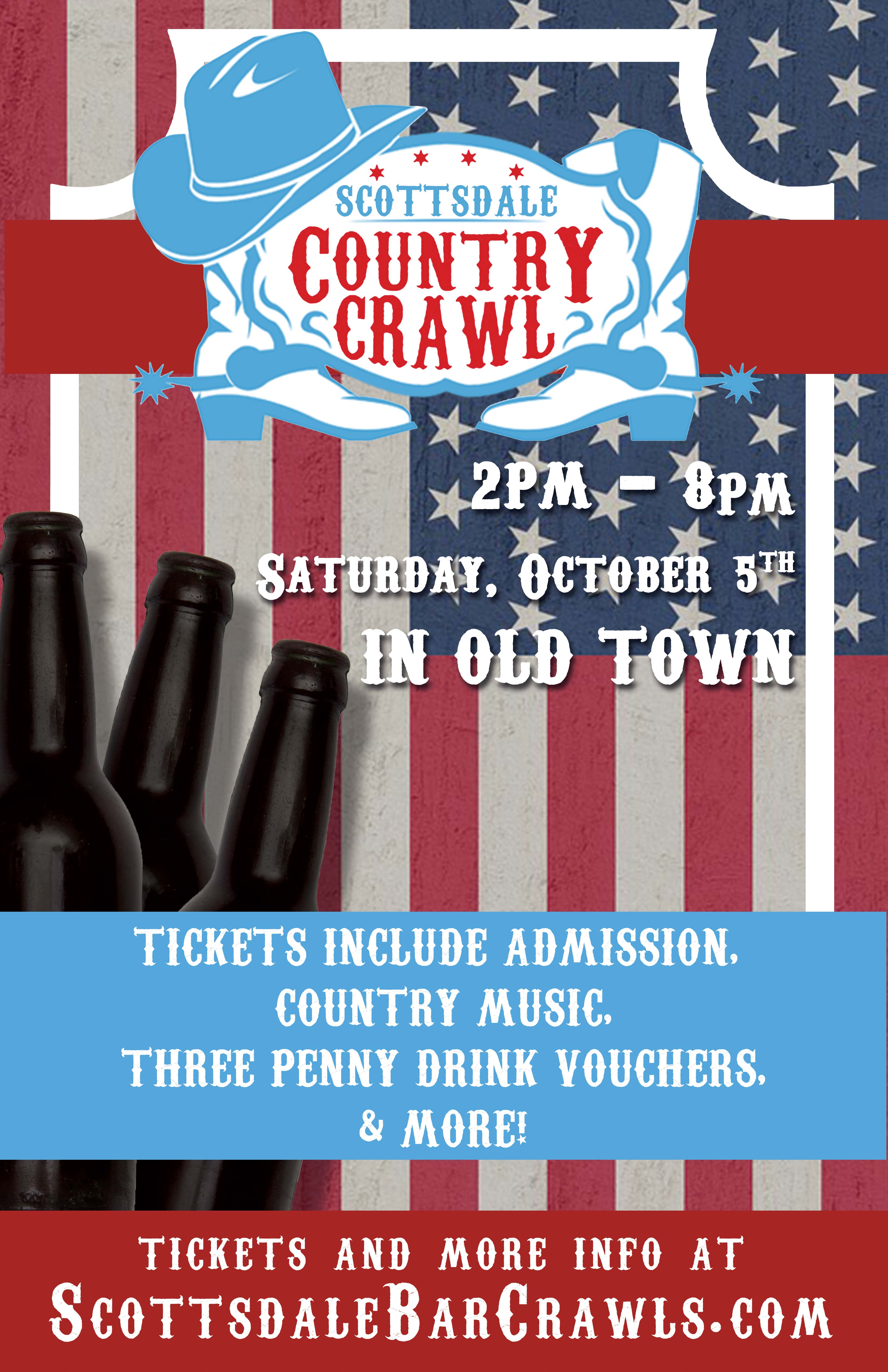 Scottsdale Country Crawl Bar Crawl Party in Old Town - Tickets Include Admission To All Bars, 3 Penny Drink Vouchers, Country Music & more!