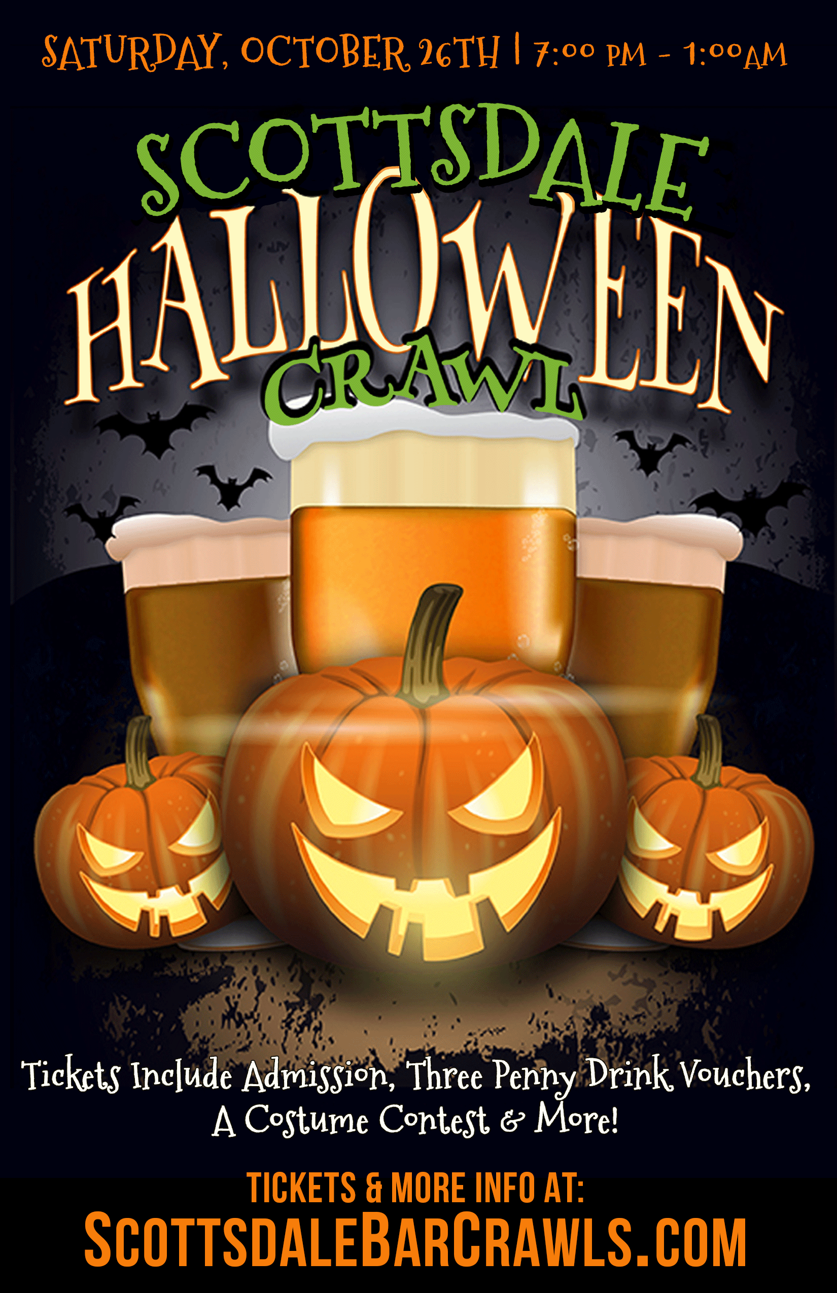 Scottsdale Halloween Night Bar Crawl - Tickets include Admission to All Bars, Three 1-penny ($.01) Drink Vouchers to Use on the Crawl, a Costume Contest & More!