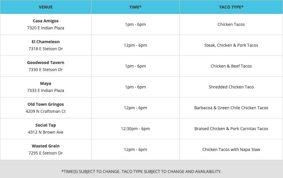 Scottsdale Taco Crawl Taco Schedule