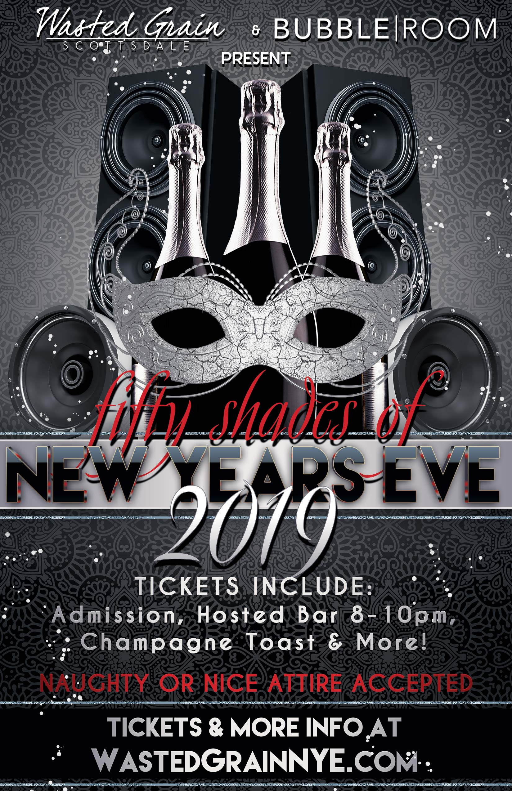 Wasted Grain and Bubble Room New Year's Eve Party - Tickets Include Admission, a Hosted Bar from 8-10pm, Champagne Toast at Midnight and more!